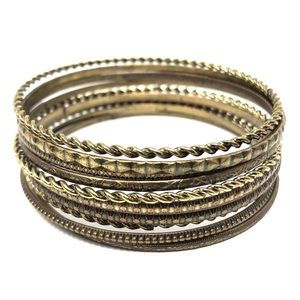 Jewelry - 10 bronze colored boho chic stacking bracelets